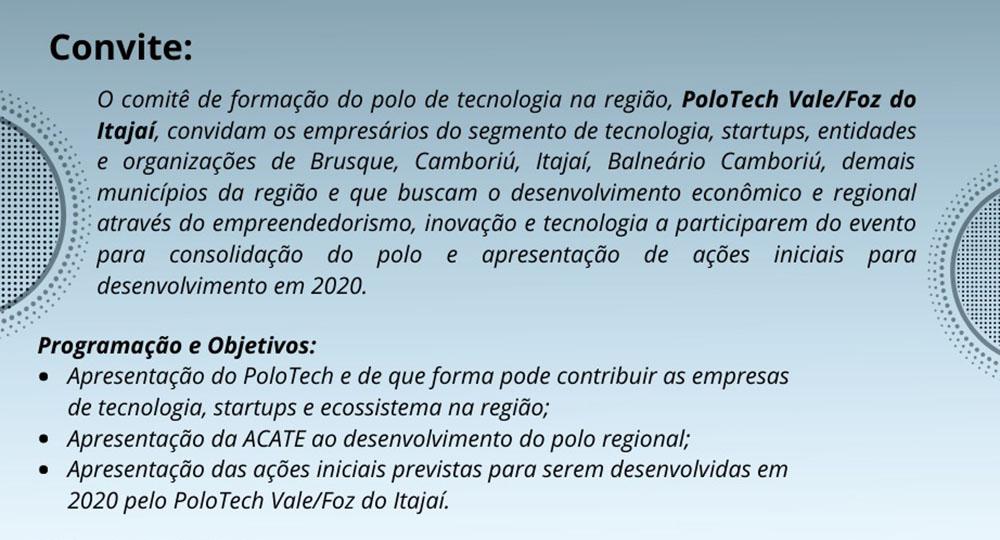 Evento consolida PoloTech Vale/Foz do Itajaí