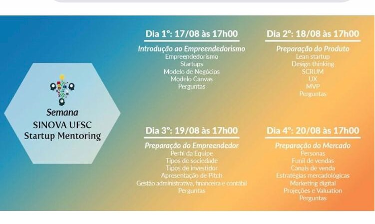 Semana SINOVA UFSC Startup Mentoring 2020